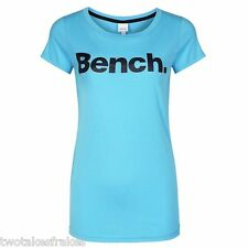 BENCH WOMENS ZEK CORE LOGO PRINT TEE T-SHIRT TOP In Bright Blue XS or S Bnwt New