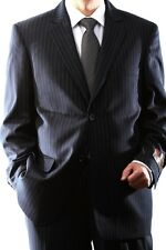 MENS 2 BUTTON NAVY PINSTRIPE DRESS SUIT WITH FLAT FRONT PANTS, PL-60512N-6035N