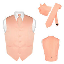 Men's Dress Vest NeckTie PEACH Color Neck Tie Set for Suit or Tuxedo