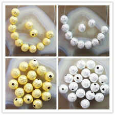 100pcs 8mm Plated-gold/silver Stardust Spacer Bead GL024
