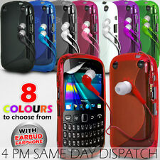 S LINE WAVE GEL SKIN CASE COVER, FILM & EARPHONE FOR BLACKBERRY CURVE 9320