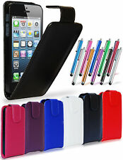 LEATHER FLIP CASE COVER POUCH, LCD FILM & STYLUS PEN FOR APPLE IPHONE 5