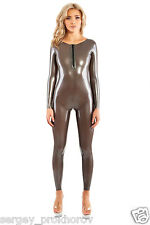 Sexy latex catsuit with zipper open back
