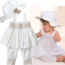 Summer Cute Ruffle Smocked Romper Sun suit hat Outfit Romper Beach size 0-2 yrs