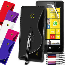 S Line Wave Gel Case Cover, LCD Film & Retractable Pen For Nokia Lumia 520