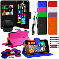 Stand Wallet Flip Case Cover, LCD Film, Stylus Pen & Speaker For Nokia Lumia 630