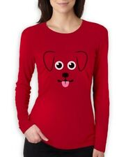 Puppy Face Gift for Dog Lovers Cute Funny Women Long Sleeve T-Shirt Animal Lover