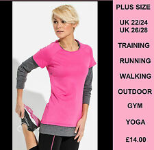 Womens Plus Size Training Top Pink Plus Size Tops UK 22 24 26 28