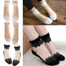 Lovely Girl Ladies Sheer Mesh Lace Cute Dots Frill Trim Ankle Socks Gift