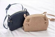Handmade Faux Leather Woven Messager Crossbody Bag