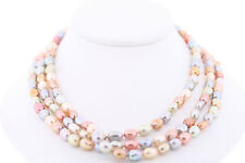 """NWOT Genuine Cultured Freshwater 7-8mm Dyed """"Pastel"""" Baroque Pearl Necklace"""