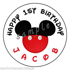 """Mickey Mouse EARS Birthday Personalized 2.5"""" Round Labels Favor Sticker Loot Bag"""