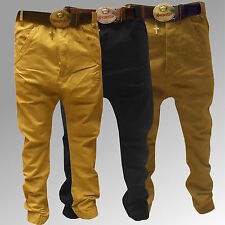 New Men's Chinos Fly Guy Monkey Cuffed Hem Autumn Winter Jeans Trousers Slim Fit