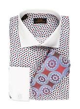 Steven Land Men's Blue/Red Multi Polka Dot 100% Cotton Dress Shirt Style DW534