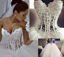 New Sexy White/Ivory Lace Beaded Bridal Gown Wedding Dress Stock Size 6 -18