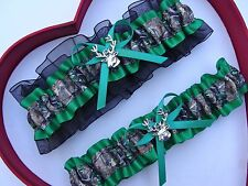 NEW Gorgeous Mossy Oak Emerald Black Wedding Garter Prom Camo Camouflage
