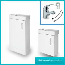 White Gloss Bathroom Vanity Unit Basin Sink Compact Cloakroom Cabinet Basin Tap