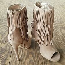 GAIN-S Delicious Fringe Peep Toe Zip Up Stiletto Heel Ankle Booties Taupe NEW!