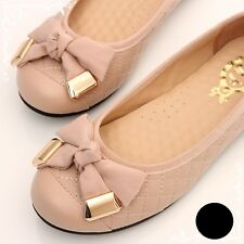 BN Womens Bowed Casual Soft Padded Walking Ballet Flats Ballerinas Shoes Loafers