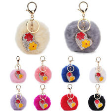 Crystal Heart Flower Fluffy Rabbit Fur PomPom Ball Bag Charm Key Chain Keyring