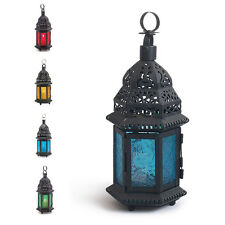 Glass Moroccan Lantern Metal Decorative Candle Holder Hanging Light Home Garden
