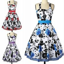 Women Sexy Retro Halter Neck Bowknot Belt Floral Print Cocktail Party Dress S-2X