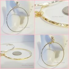 CLIP ON 2-3/4 inch Large Silver or Gold Tone Non Pierced Textured Hoop Earrings