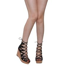 CHASE & CHLOE CD50 Women's Peep Toe Platform Lace Up Wedge Calf Sandals