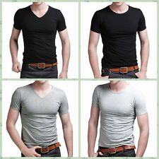 Fashion Men's Slim Fit V-neck/crew neck T-shirt Short Sleeve Muscle Casual Tee