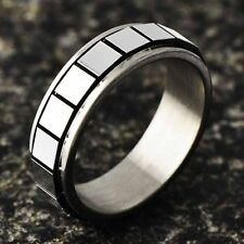 Womens Men Stainless Steel Square Piece Spinner Rings free shipping size 6 7 8 9