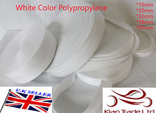 WHITE 20 25 32 38 50mm POLYPROPYLENE WEBBING STRAPPING, BAGS, STRAPS, WEAVE