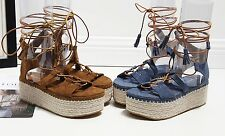 Lace-Up Suede Leather Wedge or Espadrilles Denim Sandals Boots