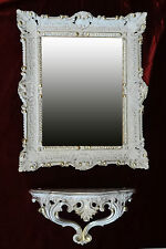Wall MIRROR + Storage Console as SET mirror ANTIQUE BAROQUE WHITE GOLD 56x46