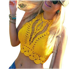 Sexy Bikini Crochet Knit Top Women Halter Bra Bralette Swimwear Tank Crop Top