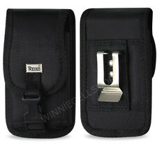 REIKO Canvas Rugged Vertical Metal Belt Clip Case with Buckle for HTC Cell Phone