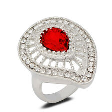 18K White Gold Plated Red Crystal Ring Women Jewelry CZ Rhinestone Lady Gift