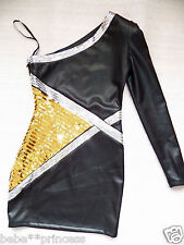 NWT bebe black one shoulder long sleeve silver gold sequin top dress XS 0 2