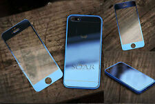 Front &Back Colored Mirror Tempered Glass Film Screen Protector For iPhone 5 5S