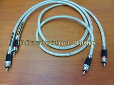 1Pair Hifi-Acoustic RCA audio Cable Silver Plated wire Rhodium Plug