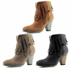 Women Double Fringe High Top Ankle Booties High Heel Western Fashion Cowboy Boot