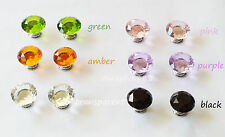 New 2pcs Multicolor cupboard Cabinet Drawer Crystal Glass Handles Knobs 30mm