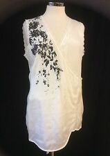 Branded Limited Edition Women's Sleeveless V Neckline Blouse Black Petal Detail
