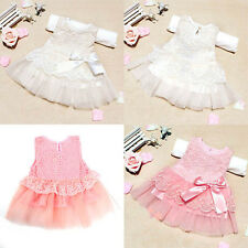 Infant Baby Girls Pink/White Sleeveless Floral Lace/Chiffon Party Dresses