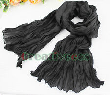 Fashion Women's Soft Wrinkle Solid Color Voile Silk Scarf Long Stole Shawl Wrap