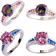 Charm Round Cut Gemstone 18k White Gold Plated Silver Ring Size 6 7 8 9 10 Gift