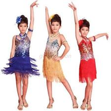 Girls Child Tassel Ballroom Latin Salsa Dancewear Party Dance Dress Costumes G63