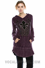 Vocal Crystals Fleur De Lis Mineral Wash Purple Hoodie Shirt Sexy S M L  Rodeo