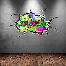 NEON ULTRA COLOUR PERSONALISED GRAFFITI NAME UV Wall Sticker Decal Graphic Mural