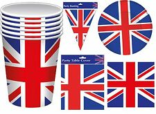 Union Jack Flag Party Bunting Cups Plates Napkins Queen 90th Birthday Jubilee