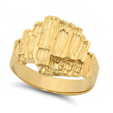 Men's Classy Large Heavy Plated 14k Yellow Gold Classic Nugget Ring